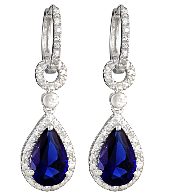 tear drop sapphire diamond earrings