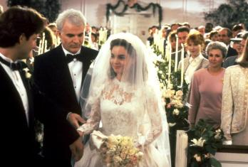 FATHER OF THE BRIDE, front from left: George Newbern, Steve Martin, Kimberly Williams, 1991, ©Buena Vista Pictures